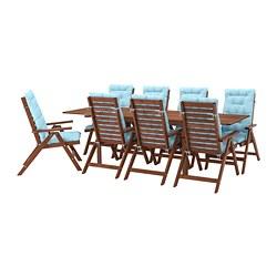 ÄPPLARÖ - Meja+8 kursi recliner, l.ruang, diwarnai cokelat/Kuddarna biru muda