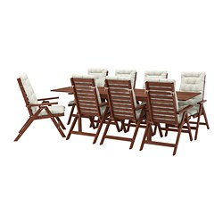 ÄPPLARÖ - Table+8 reclining chairs, outdoor, brown stained/Kuddarna beige