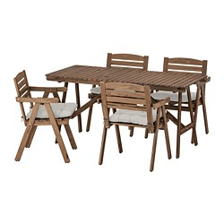 FALHOLMEN - Table+4 chairs w armrests, outdoor, light brown stained/Kuddarna grey