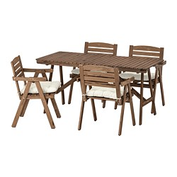FALHOLMEN - Table+4 chairs w armrests, outdoor, light brown stained/Kuddarna beige