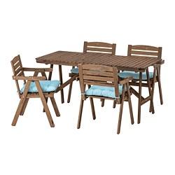 FALHOLMEN - Meja+4 kursi dg sndrn tgn, l rg, diwarnai cokelat muda/Kuddarna biru muda
