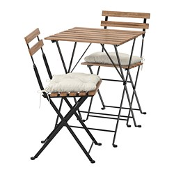 TÄRNÖ - Table+2 chairs, outdoor, black/light brown stained/Kuddarna beige