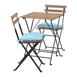 TÄRNÖ - Table+2 chairs, outdoor, black/light brown stained/Kuddarna light blue