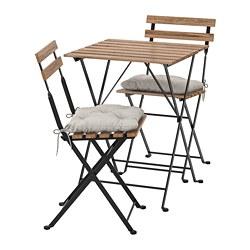 TÄRNÖ - Meja+2 kursi, luar ruang, diwarnai hitam/cokelat terang/Kuddarna abu-abu