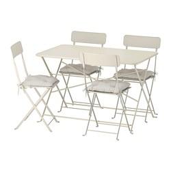 SALTHOLMEN - Meja+4 kursi lipat, luar ruang, krem/Kuddarna abu-abu