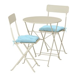 SALTHOLMEN - Table+2 folding chairs, outdoor, beige/Kuddarna light blue