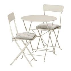 SALTHOLMEN - Meja+2 kursi lipat, luar rg, krem/Kuddarna abu-abu