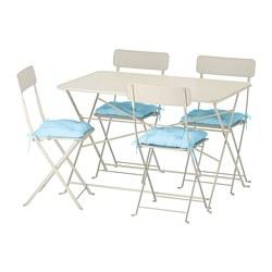 SALTHOLMEN - Meja+4 kursi lipat, luar ruang, krem/Kuddarna biru