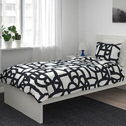 SKUGGBRÄCKA - Sarung quilt dan 2 sarung bantal, putih/hitam