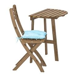 ASKHOLMEN - Meja dinding+1 kursi lipat, l.ruang, diwarnai abu-abu cokelat/Kuddarna biru muda