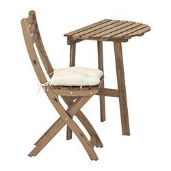 ASKHOLMEN - Meja dinding+1 kursi lipat, l.ruang, diwarnai abu-abu cokelat/Kuddarna krem