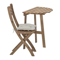 ASKHOLMEN - Meja dinding+1 kursi lipat, l.ruang, diwarnai abu-abu cokelat/Kuddarna abu-abu