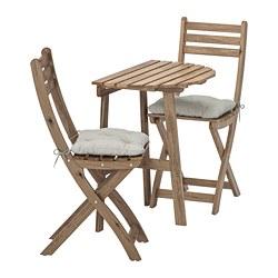 ASKHOLMEN - Meja dinding+2 kursi lipat, l.ruang, diwarnai abu-abu cokelat/Kuddarna abu-abu
