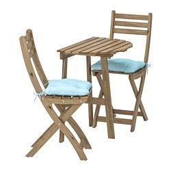 ASKHOLMEN - Meja dinding+2 kursi lipat, l.ruang, diwarnai abu-abu cokelat/Kuddarna biru muda