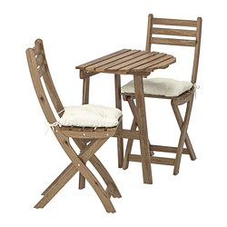 ASKHOLMEN - Meja dinding+2 kursi lipat, l.ruang, diwarnai abu-abu cokelat/Kuddarna krem