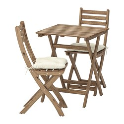 ASKHOLMEN - Table+2 chairs, outdoor, grey-brown stained/Kuddarna beige