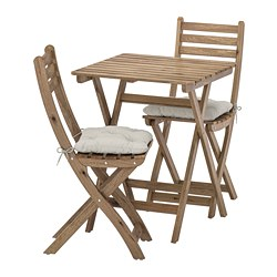 ASKHOLMEN - Table+2 chairs, outdoor, grey-brown stained/Kuddarna grey