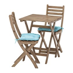 ASKHOLMEN - Table+2 chairs, outdoor, grey-brown stained/Kuddarna light blue