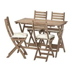 ASKHOLMEN - Meja+4 kursi lipat, luar ruang, diwarnai abu-abu cokelat/Kuddarna krem