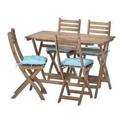 ASKHOLMEN - Meja+4 kursi lipat, luar ruang, diwarnai abu-abu cokelat/Kuddarna biru muda