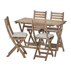 ASKHOLMEN - Meja+4 kursi lipat, luar ruang, diwarnai abu-abu cokelat/Kuddarna abu-abu
