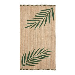 SOMMAR 2020 - Rug, flatwoven, green leaves/natural
