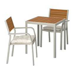 SJÄLLAND - Table+2 chairs w armrests, outdoor, light brown/Kuddarna beige