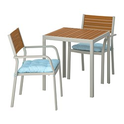 SJÄLLAND - Table+2 chairs w armrests, outdoor, light brown/Kuddarna light blue