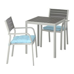 SJÄLLAND - Table+2 chairs w armrests, outdoor, dark grey/Kuddarna light blue