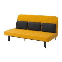 NYHAMN - Sofa-bed with triple cushion, with pocket spring mattress/Skiftebo yellow