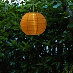 SOLVINDEN - Lampu gantung LED tenaga surya, luar ruang/bulat warna emas