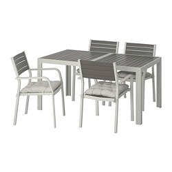 SJÄLLAND - Table+4 chairs w armrests, outdoor, dark grey/Kuddarna grey
