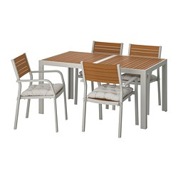 SJÄLLAND - Table+4 chairs w armrests, outdoor, light brown/Kuddarna grey