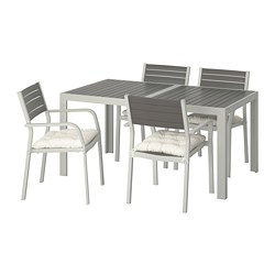 SJÄLLAND - Table+4 chairs w armrests, outdoor, dark grey/Kuddarna beige