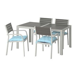 SJÄLLAND - Table+4 chairs w armrests, outdoor, dark grey/Kuddarna light blue
