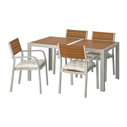 SJÄLLAND - Table+4 chairs w armrests, outdoor, light brown/Kuddarna beige