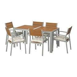 SJÄLLAND - Table+6 chairs w armrests, outdoor, light brown/Kuddarna beige