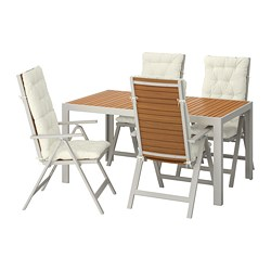 SJÄLLAND - Table+4 reclining chairs, outdoor, light brown/Kuddarna beige