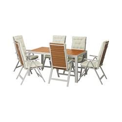 SJÄLLAND - Meja+6 kursi recliner, l.ruang, cokelat muda/Kuddarna krem
