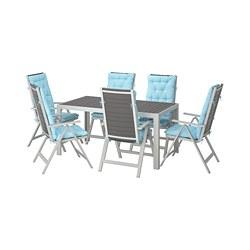 SJÄLLAND - Meja+6 kursi recliner, l.ruang, abu-abu tua/Kuddarna biru muda
