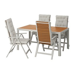 SJÄLLAND - Table+4 reclining chairs, outdoor, light brown/Kuddarna grey