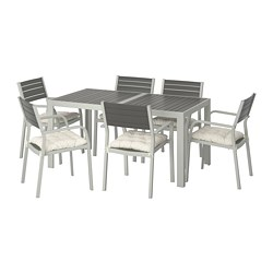 SJÄLLAND - Table+6 chairs w armrests, outdoor, dark grey/Kuddarna beige