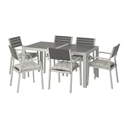 SJÄLLAND - Table+6 chairs w armrests, outdoor, dark grey/Kuddarna grey