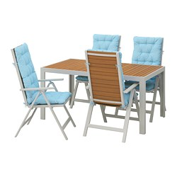 SJÄLLAND - Table+4 reclining chairs, outdoor, light brown/Kuddarna light blue