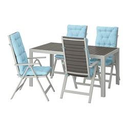 SJÄLLAND - Meja+4 kursi recliner, l.ruang, abu-abu tua/Kuddarna biru muda