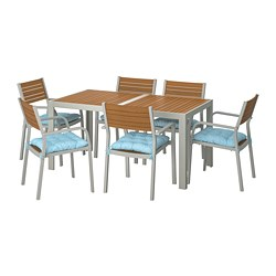 SJÄLLAND - Table+6 chairs w armrests, outdoor, light brown/Kuddarna light blue