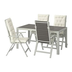 SJÄLLAND - Table+4 reclining chairs, outdoor, dark grey/Kuddarna beige