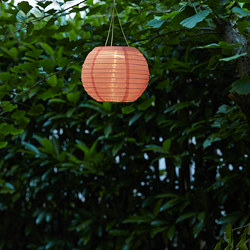 SOLVINDEN - LED solar-powered pendant lamp, outdoor/globe pink
