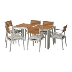 SJÄLLAND - Table+6 chairs w armrests, outdoor, light brown/Kuddarna grey
