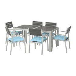 SJÄLLAND - Table+6 chairs w armrests, outdoor, dark grey/Kuddarna light blue